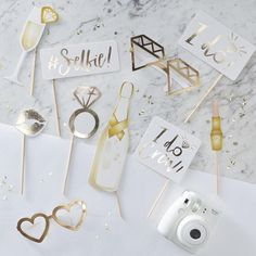 'I Do Crew' fun novelty photo booth props in gold foil perfect for a bridal shower! Match with our I Do Crew range. Each pack contains 10 photo booth props measuring 19cm - 29.5cm H. Made from quality card stock.