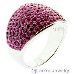 """Gorgeous 925 Sterling Silver Ring With White to Dark Pink Austrian Grade Crystals (Ring Size 7"""")"""