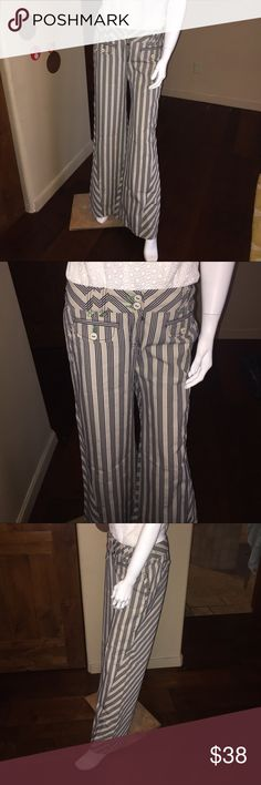 """EUC Anthropologie Wide Leg Navy Stripe Pants 6 Excellent condition, no flaws. Anthropologie Navy Stripe Wide Leg Pants. Size 6.  100% Cotton. Inseam 32"""" waist 15"""" hips 17"""" measured across front.  Thanks for looking. Please take a peek at my other listings. Thank you for the shares. Bundle and save! Anthropologie Pants Wide Leg"""