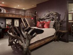 Can I just say WOW! A very beautiful and dramatic-looking bed frame and headboard made of driftwood