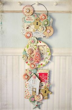 """Ally Scraps: """"Vintage Christmas Wall Swag"""" by Linda Albrecht Cosmo Cricket, Echo Park, and October Afternoon. Christmas Paper, Christmas Projects, All Things Christmas, Holiday Crafts, Christmas Time, Vintage Christmas, Christmas Collage, Whimsical Christmas, Cd Crafts"""