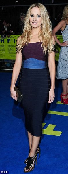 Joanne Froggartt: The Herve Leger block dress brought some colour to the premiere