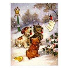 Vintage Christmas Illustration with Singing Dogs Postcard