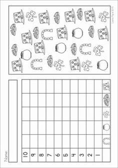 Kindergarten St. Patrick's Day Math & Literacy No Prep packet. A page from the unit: count and graph