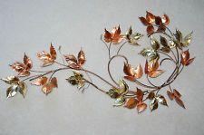 31x17 Vintage Welded Copper/Brass/Gold/Bronze Metal Leaves Wall  Decor/Sculpture