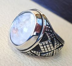 flashy moonstone men ring  natural stone dur al najaf sterling