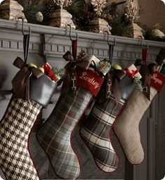Plaid Christmas Stockings & Stocking Holders by French Laundry Home at Horchow. will SO be making these from thrift store flannels and sweaters! Plaid Christmas Stockings, Plaid Stockings, Tartan Christmas, Christmas Sewing, Noel Christmas, Country Christmas, Winter Christmas, Christmas Crafts, Christmas Decorations