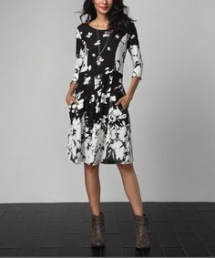 Another great find on #zulily! Black Floral Fit & Flare Pocket Dress #zulilyfinds