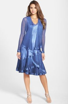 Komarov Tiered Chiffon & Charmeuse Dress with Jacket available at #Nordstrom