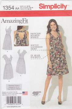 Simplicity Sewing Pattern 1354 Misses' & Plus Size Amazing Fit Dress New UNCUT by SheerWhimsyDesigns on Etsy
