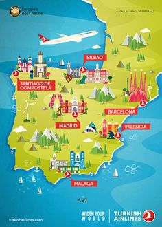 Travel infographic Maptitude A map of Spain from Turkish Airlines Map Of Spain, Spain And Portugal, Buch Design, Map Design, Travel Maps, Travel Posters, Best Airlines, Tourist Map, Turkish Airlines