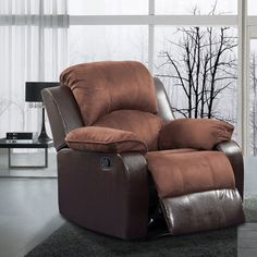 Pamela Two-tone Brown Microfiber/ Faux Leather Recliner
