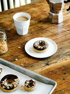 chocolate glazed toasted coconut doughnuts