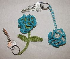 Free Crochet Patterns: Free Crochet Keychain Patterns / quite an idea - unique way to carry your keys / easy to find in your purse Love Crochet, Crochet Gifts, Crochet Motif, Crochet Yarn, Crochet Flowers, Crochet Toys, Crotchet, Yarn Projects, Crochet Projects