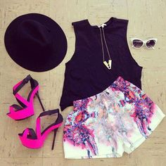 #fuscia black high waisted shorts  #colorblock heels