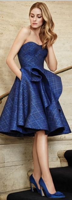 Who made Olivia Palermo's blue strapless dress?