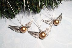 Winged Ball Christmas Ornaments inspired by Harry Potter Golden Snitch