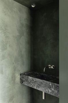 Apartment on the Belgian coast balances natural and industrial materials Apartment Interior, Apartment Design, Mint Green Bathrooms, Terrazo, Guest Toilet, Sauna Room, Tadelakt, Open Space Living, Terrazzo Flooring