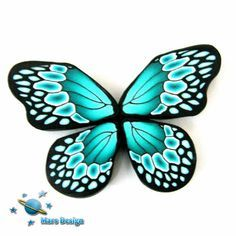 Polymer clay turquoise green BUTTERFLY WING canes by marsdesign,