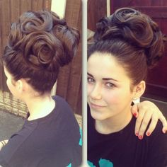 Another big hairstyle curled and pinned