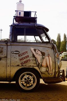 VW Camper with a pinup, oh so sexy!!!