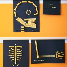 Pasta skeletons - Kids can bone up on anatomy and create a fun Halloween decoration at the same time when they make a skeleton out of noodles. With an illustration of a skeleton as a guide, they just need lots of dried pasta, white glue, and constr. Theme Halloween, Halloween Crafts For Kids, Holidays Halloween, Halloween Diy, Kids Crafts, Party Crafts, Halloween Projects, Halloween Decorations, Halloween Activities