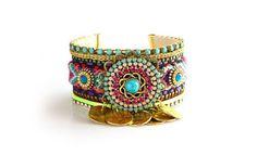 Made to Order/OOAK SS13 Luxury Aztec Swarovski Friendship Bracelet Jewelry Cuff,bohemian indian gypsy style,Ethnic boho