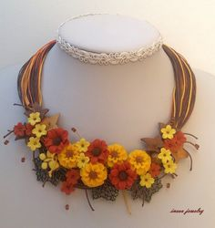 Flower Necklace,Autumn Jewelry,Statement Necklace,Floral Fashion,Gift For Her