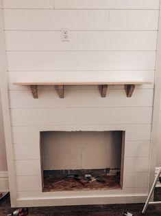 Sure Fire Cozy Enhancer — Our Blue Abode Fireplace Facing, Build A Fireplace, Fake Fireplace, Fireplace Built Ins, Shiplap Fireplace, Fireplace Inserts, Stove Fireplace, Shiplap Trim, Home Decor Hooks