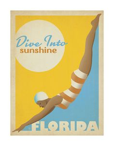Dive Into Sunshine: Florida Posters por Anderson Design Group na AllPosters.pt