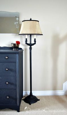 a vintage floor lamp that was painted black with Liquorice and Glazed with Graphite by Recreated Designs