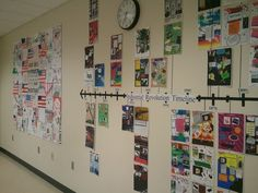 Giant Industrial Revolution timeline my students helped me create with their invention glogster projects!