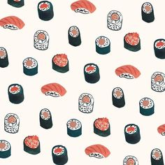 So Much Sushi Art Print by saracombs Food Patterns, Pretty Patterns, Textures Patterns, Fabric Patterns, Surface Pattern, Pattern Art, Cute Pattern, Pattern Design, Wallpapers Tumblr