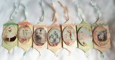 Wooden Ballet Ballerina Ornaments Shabby Lace Chic Romantic Victorian Christmas Tree Art Mixed Media Hang Tags Gifst Beautiful Living