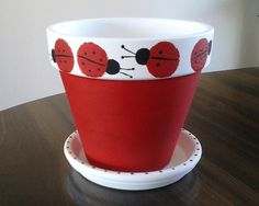 Small Lady Bug Painted Clay Pot by EmmaJosAttic on Etsy, $20.00