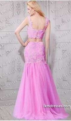 http://www.ikmdresses.com/fantastic-beaded-lace-applique-crop-top-mermaid-two-piece-dress-Pink-Dresses-p60951