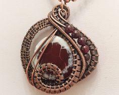 Oxidized Copper Wire Woven Fire Agate & Garnet Pendant