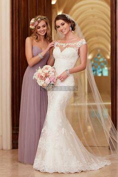Off Shoulder Mermaid Court Train Lace Wedding Dress - Shedressing.com