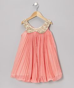 Take a look at this Kosse Designs Peach Pleated Chiffon Dress - Toddler & Girls on zulily today!
