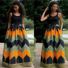 Omg I'm in love with this African maxi dress. I could possibly make this myself instead of purchasing..saves money; African+Maxi+Skirt+with+pockets+by+MelangeMode+on+Etsy,+$115.00