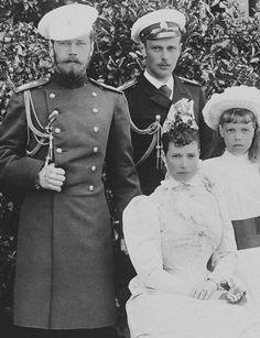 Group photo taken at Livadia around 1893 - Empress Maria Feodorovna, Tsarevich Nicholas, Grand Duke George Alexandrovich and Grand Duchess Olga Alexandrovna