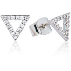 Astrid & Miyu - Tuxedo Triangle Earrings Silver ($73) ❤ liked on Polyvore featuring jewelry, earrings, silver earrings, sparkle jewelry, druzy jewelry, silver druzy earrings and drusy jewelry