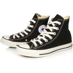 Converse Black Chuck Taylor All Star Hi Top Trainers ($77) ❤ liked on Polyvore featuring shoes, sneakers, converse, footwear, converse high tops, black hi tops, black high tops, black shoes and black canvas shoes