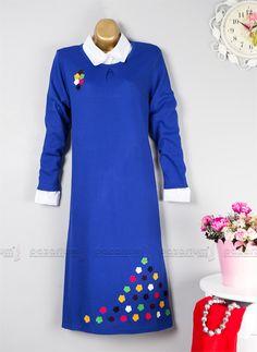 Eteği Çiçek Desenli Triko Tunik (Saks Mavisi)