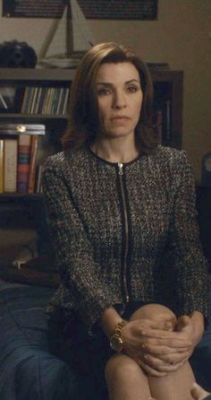 """Red Valentino houndstooth jacket in black, cream & gold metallic knit in """"The Good Wife Season 5 Outfits, Explained by Costume Designer Daniel Lawson"""" - Season 5, Episode 19: from #InStyle"""