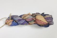 Recycled Sari Silk Ribbon - Thistle – EcoFriendlyCrafts Silk Ribbon, Silk Fabric, Sari Silk, Fabric Remnants, Needles Sizes, Shades Of Purple, Flow, Baskets, Scarves
