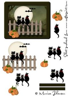 Halloween Cats On Fence on Craftsuprint designed by Monica Johansen - A Card Front with Decoupage - Now available for download!