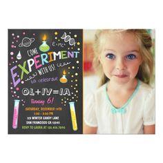 Girl's 1st Birthday Party Invitations Science Experiment Birthday Invitation Girl