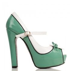 Mint Green Peep Toe Heels with White and Black Detailing ❤ liked on Polyvore