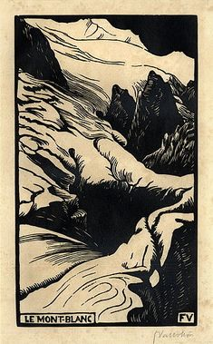 #20 Felix Vallotton, Le Mont-Blanc, 1892, Holzschnitt auf Velin, 26 x 15cm, Museum n/a. Line and value only. Devoid of color. Strong lines of black depict shadows on the mountain.
